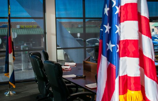 close up of flag & desks