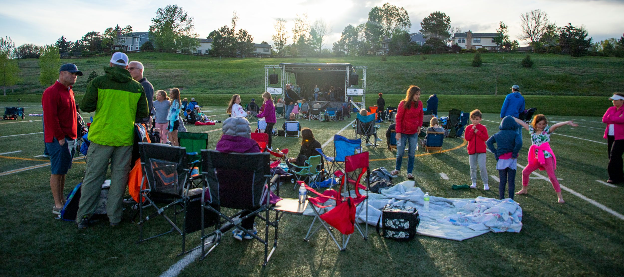 Crowd at outdoor concert in Elk Ridge Park