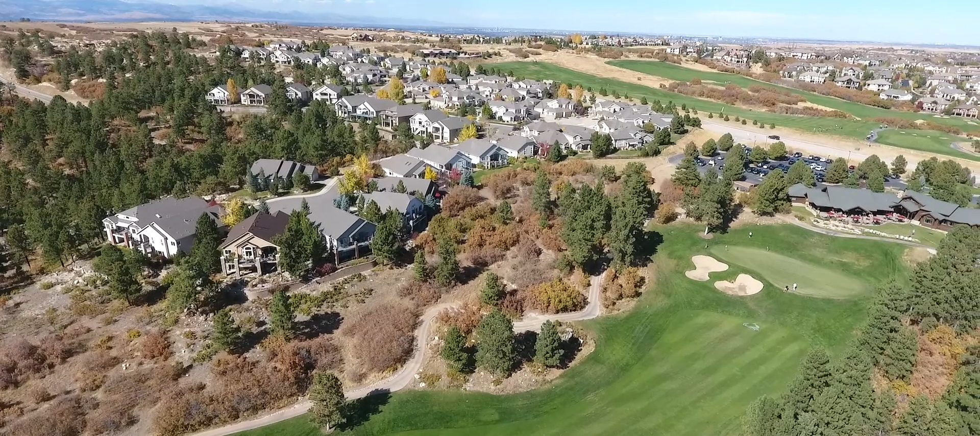 Aerial photo of the City of Castle Pines overlooking The Ridge golf course