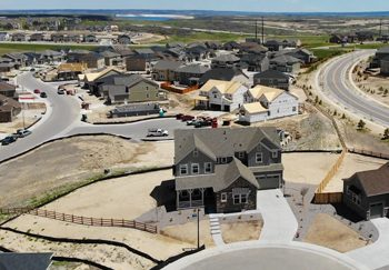 Aerial photo of new construction in Castle Valley